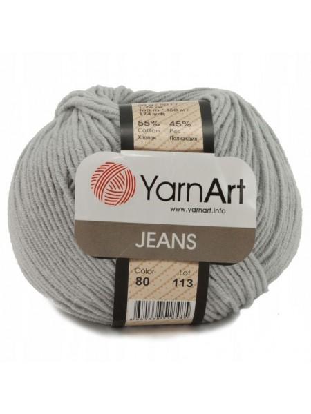 "Пряжа  YarnArt ""Jeans Джинс""цв. 80, серый"