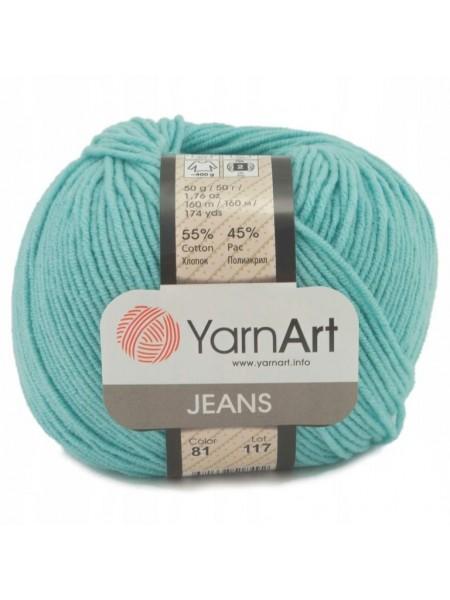 """Пряжа  YarnArt """"Jeans Джинс""""цв. 81, мята"""