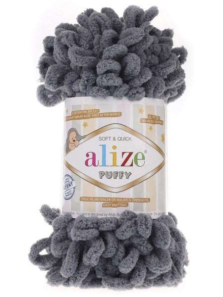 Пряжа Alize Puffy ,цв тёмно-серый ,100 гр-9 м