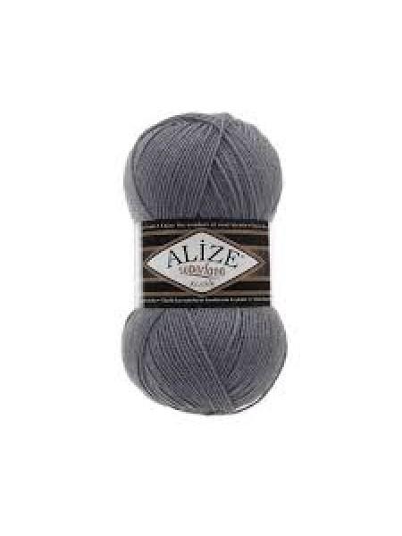 Пряжа Alize Superlana Klasik,№87,цв-тёмно-серый,100гр-280 метров