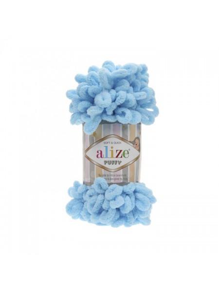 Пряжа Alize Puffy-цвет голубой,100 гр-9 м
