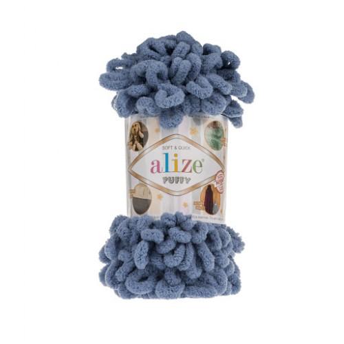 Пряжа Alize Puffy-цвет тёмно-голубой,100 гр-9 м