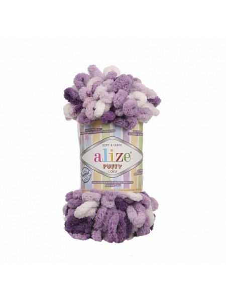 Пряжа Alize Puffy Color,цв-5923,цв-фиолетовый-белый  ,100 гр-9 м