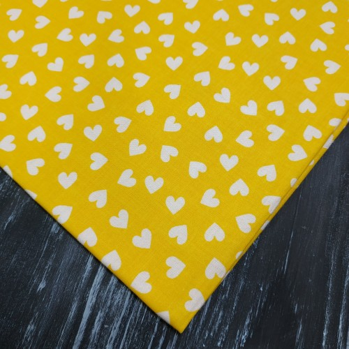 Отрез(хлопок)-Сердечки на жёлтом,50*50см.цена за отрез