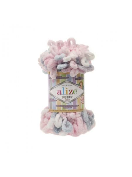 Пряжа Alize Puffy Color,цв-6051цв-сиреневый-розов-белый ,100 гр-9 м