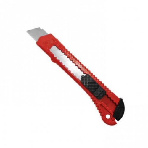 Нож канцелярский 18 мм с фиксатором, , цв.красный