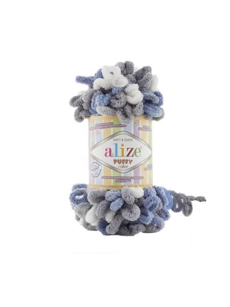 Пряжа Alize Puffy Color,цв-6075-цв-серый-синий-белый  ,100 гр-9 м