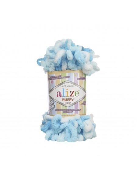Пряжа Alize Puffy Color,цв-5924-цв-голубой-белый  ,100 гр-9 м