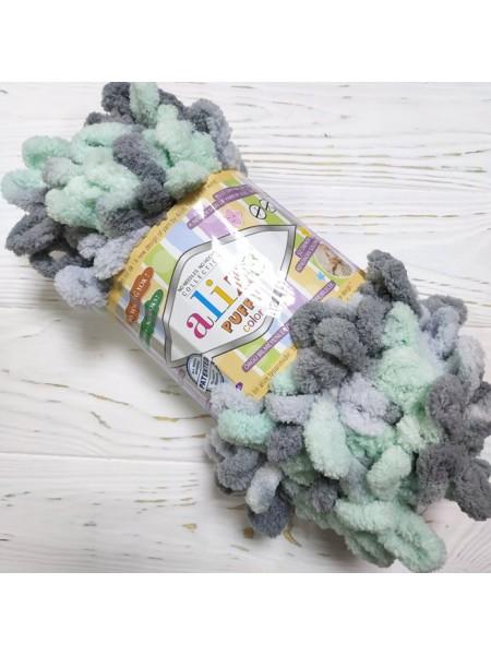Пряжа Alize Puffy Color,цв-мята-серый,№6076  ,100 гр-9 м