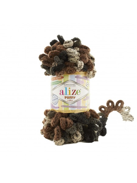 Пряжа Alize Puffy Color,цв-черный-беж,№6083  ,100 гр-9 м