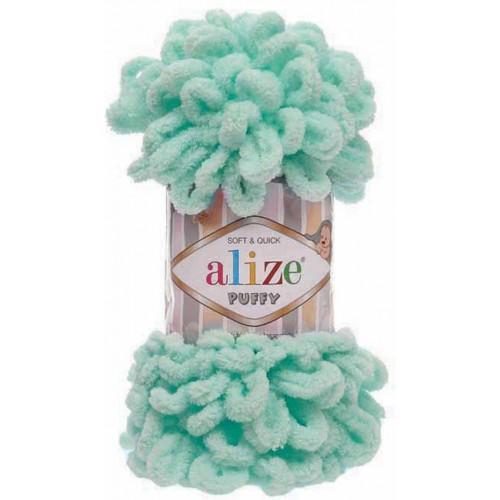 Пряжа Alize Puffy-цвет светло-бирюзовый,100 гр-9 м
