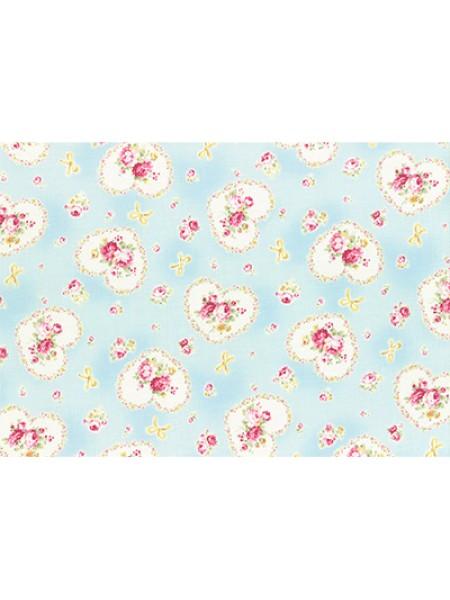 Отрез  хлопка для пэчворка ,50*55см,серия PRINCESS ROSE-цв-мятный