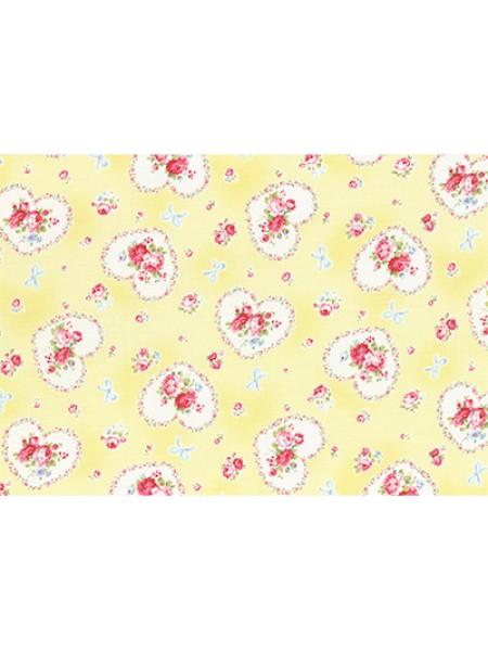 Отрез  хлопка для пэчворка ,50*55см,серия PRINCESS ROSE-цв-желтый