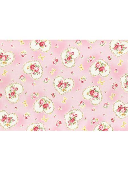 Отрез  хлопка для пэчворка ,50*55см,серия PRINCESS ROSE-цв-розовый