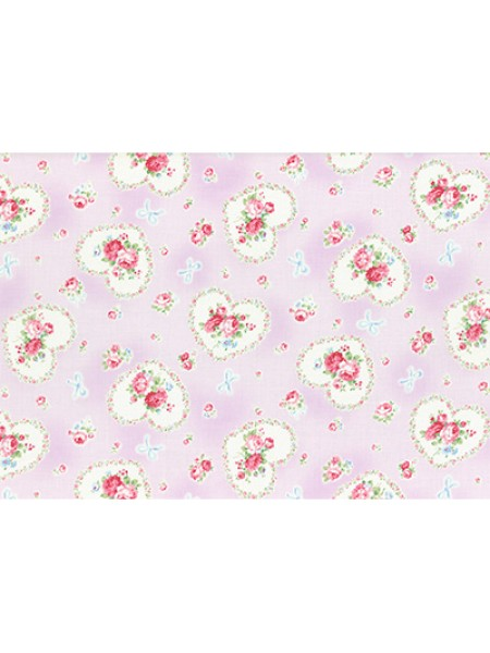Отрез  хлопка для пэчворка ,50*55см,серия PRINCESS ROSE-цв-сиренево-розовый