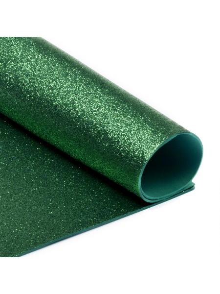 Глиттерный фоамиран, А4,цв-темно-зелёный-№005