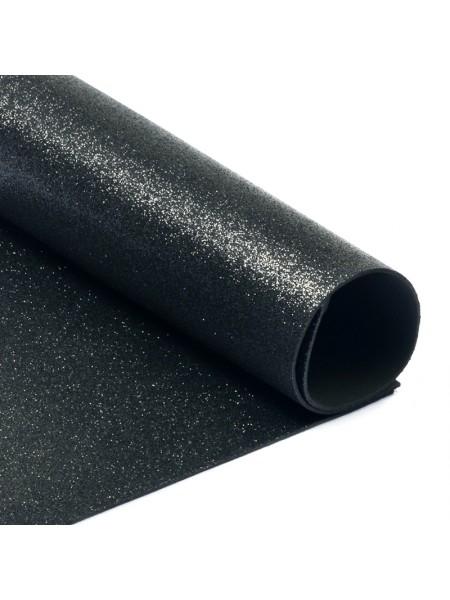 Глиттерный фоамиран, А4,цв-черный,№019