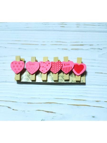 """Набор декоративных прищепок """"Сердечки розовые""""-6 штук"""