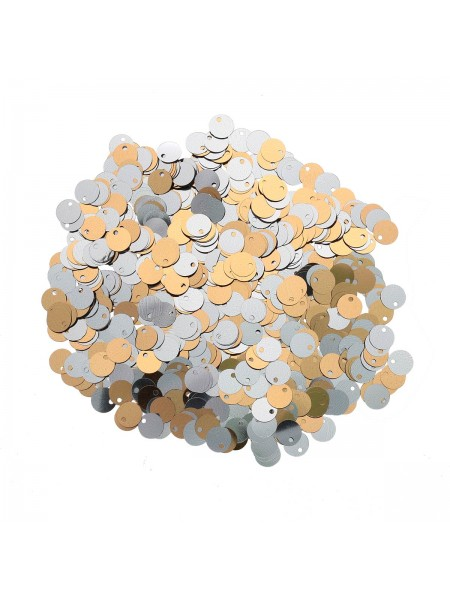 Пайетки двусторонние,10гр-6мм,цв - золото-серебро, 7556