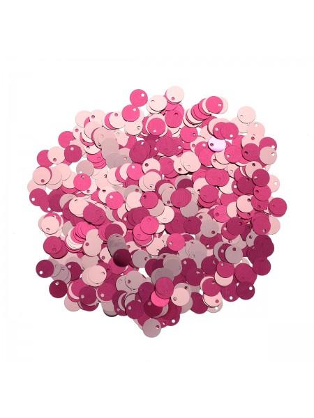 Пайетки двусторонние,10гр-6мм,цв - розовый-нежно-розовый, 7568
