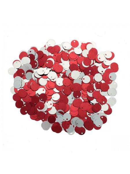 Пайетки двусторонние,10гр-6мм,цв - красный-серебро, 2437