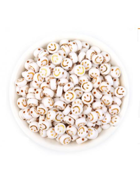 Бусины акрил. золотые смайлики на белом,7*4 мм (24-25шт)