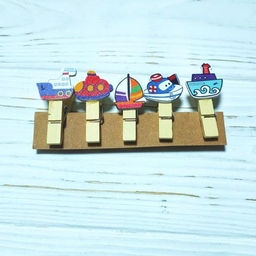 """Набор декоративных прищепок """"Кораблики""""-5 штук"""