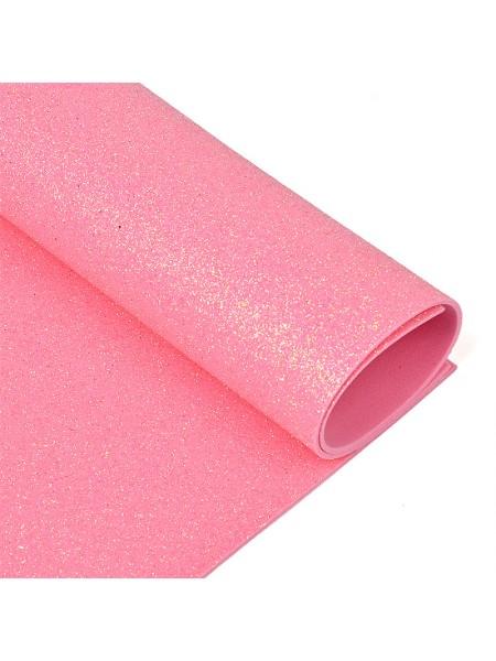 Глиттерный фоамиран, А4,цв-розовый,№040