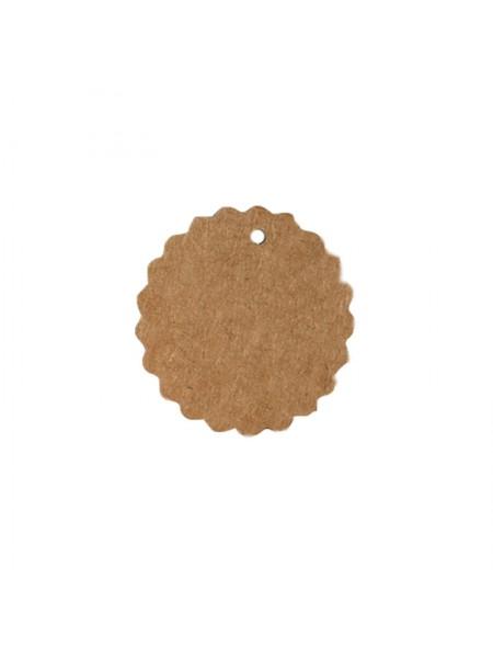 Набор круглых(волна)тэгов,цв-крафт, 50 мм,цена за 10шт