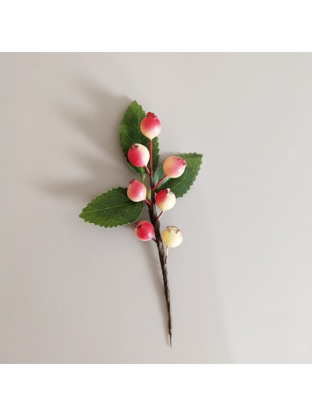 Ягодки с листиком, цв-крем-розовый,10мм,  длина 11 см
