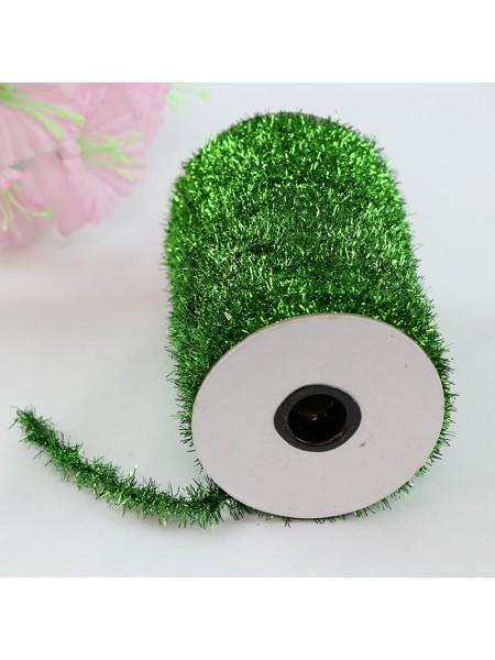 Шнур металлизированный мишура ,зелёный,Цена за 1 метр