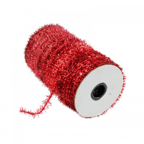 Шнур металлизированный мишура , красный,Цена за 1 метр