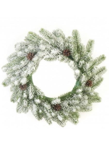 Новогодний венок большой со снегом и шишками