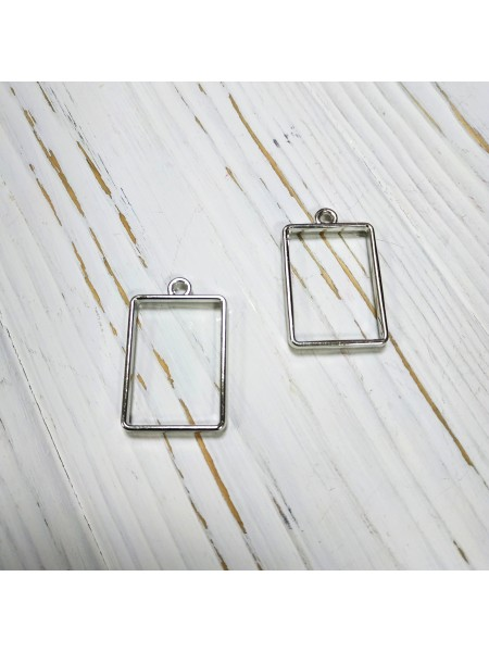 Фурнитура под заливку, прямоугольник, цв-серебро,21*34мм