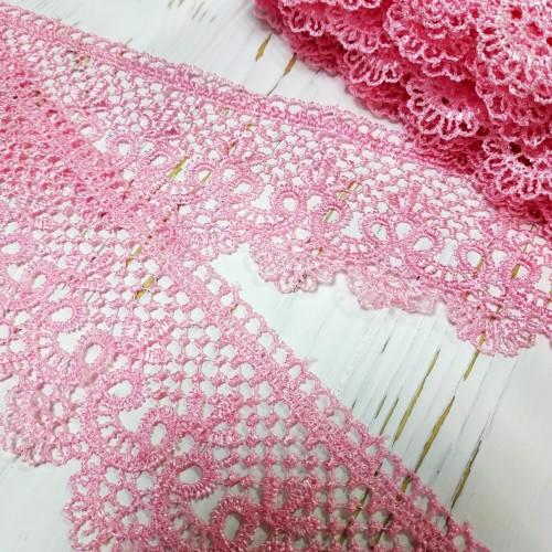 Гипюровое кружево ,цв-розовый,шир 6,5см.Цена за 1м