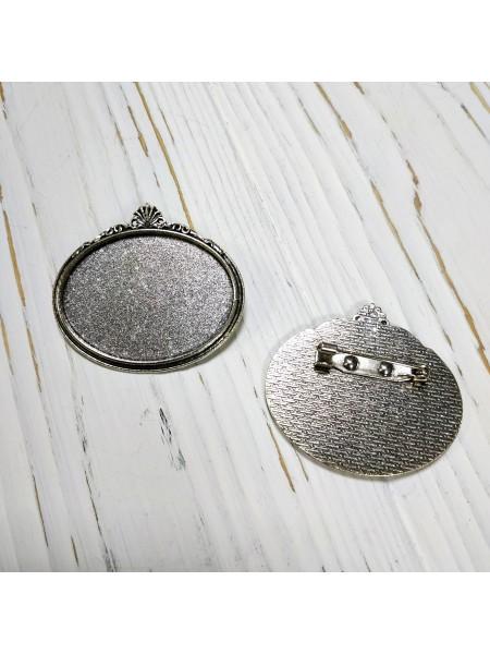 Основа под заливку-брошь,30*40 мм,цв-античное серебро