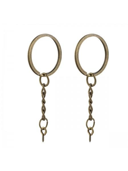 Кольцо для ключей с цепочкой, 2,5 см, с штифтом, цв-бронза.Цена за 1 шт