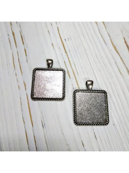 Основа для кулона под заливку(сеттинг квадрат), 25мм,античное серебро