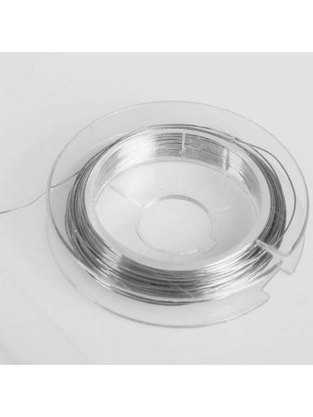 Проволока для бисера металл  d 0.3 мм 10 м №02 под серебро-Gamma