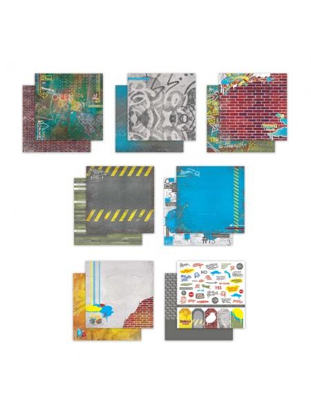 Набор двусторонней бумаги-Ритм города, 20х20см- 7 листов