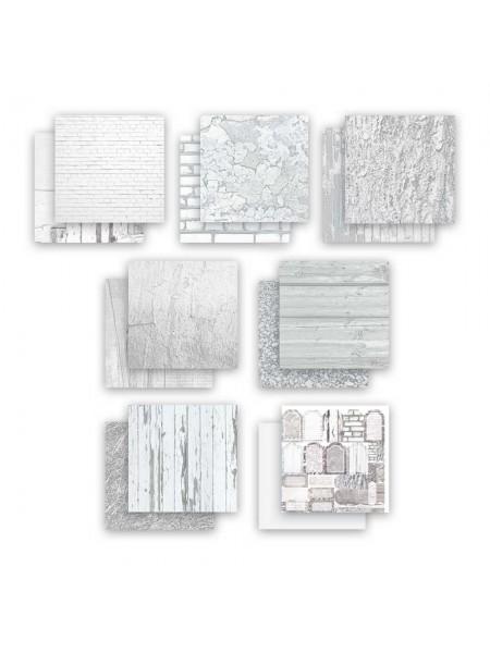 """Набор двусторонней бумаги-""""Вокруг меня. Белый, 20х20см- 7 листов"""