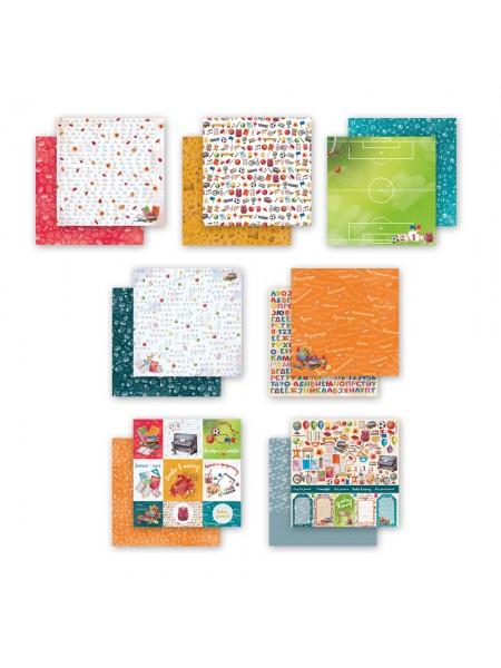 Набор двусторонней бумаги-Школьная, 20х20см- 7 листов