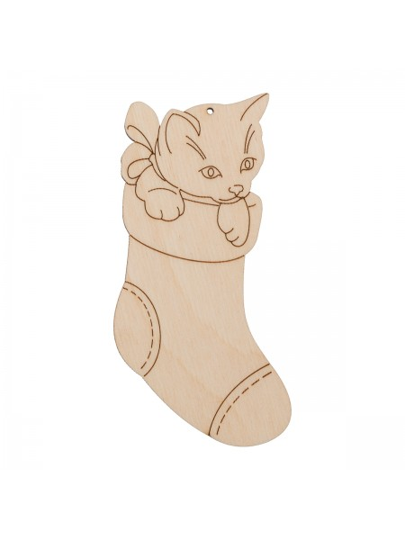 Котенок в носке,фанера,10 см