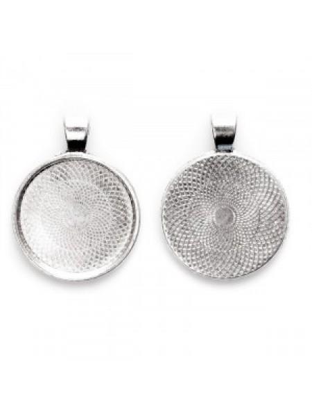 Основа для кулона под заливку(сеттинг круглый)25мм ,античное серебро-№2