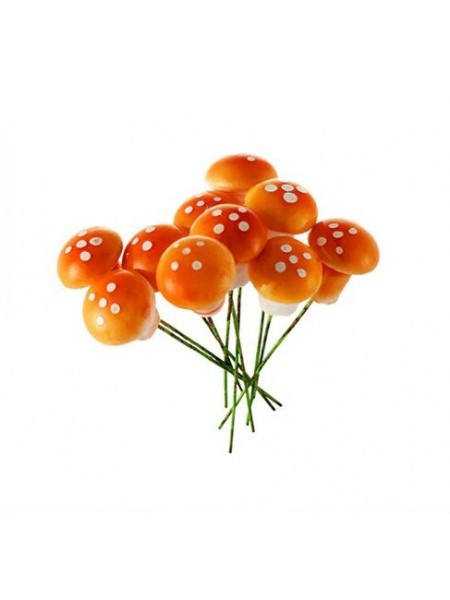 Грибочки,мухомор, цв-оранжевый,цена за 1 шт