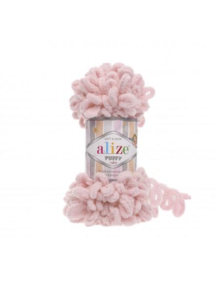 Пряжа Alize Puffy-цвет пудра розовая,100 гр-9 м