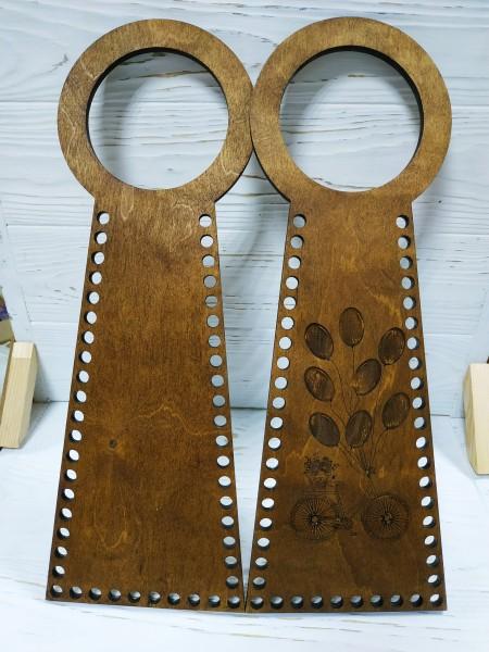 Деревянные ручки(основа-середина), для сумок-Птица,цв-т-коричневый,13*38 см,цена за пару