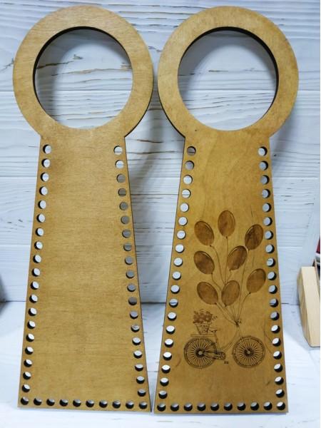 Деревянные ручки(основа-середина), для сумок-Птица,цв-св-коричневый,13*38 см,цена за пару