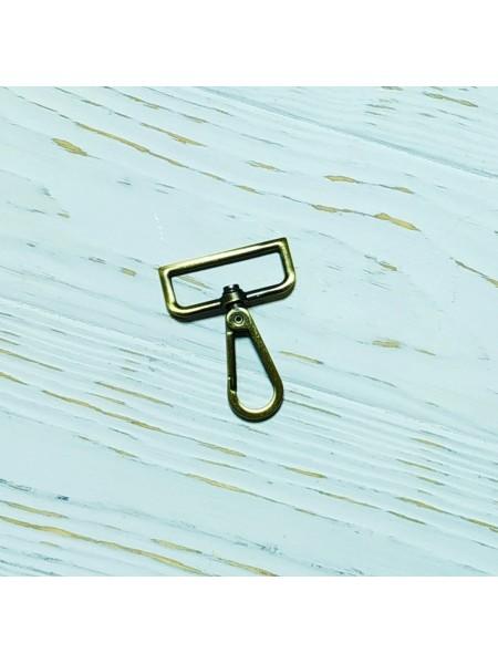 Карабин для ремней и сумок, шир 3,8 см  цв-бронза,цена за  1 шт