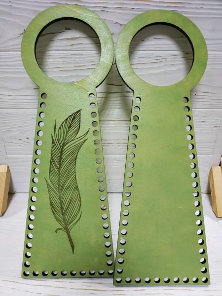 Деревянные ручки(основа-середина), для сумок-Перо,цв-св-зелёный,13*38 см,цена за пару